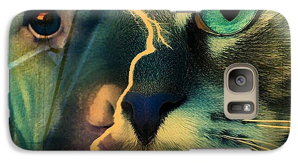 Galaxy Case featuring the digital art The Dog Connection -green by Kathy Tarochione