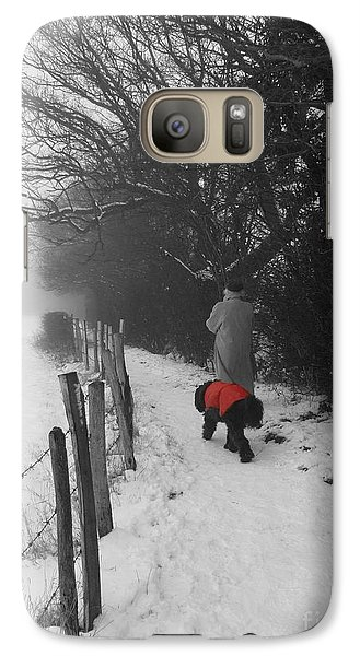 Galaxy Case featuring the photograph The Dog In The Red Coat by Vicki Spindler