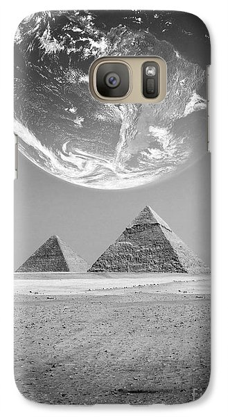 Galaxy Case featuring the photograph The Earth With Egyptian Pyramids  by Mohamed Elkhamisy