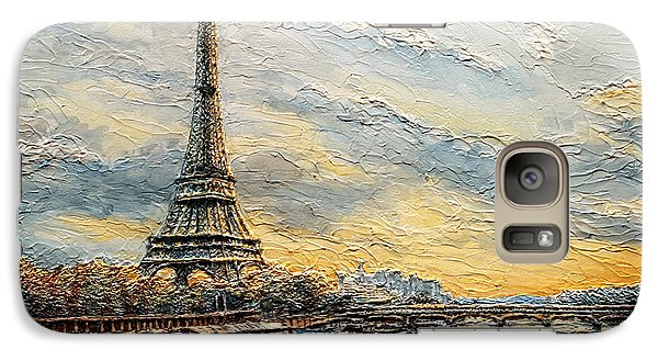 Galaxy Case featuring the painting The Eiffel Tower- From The River Seine by Joey Agbayani