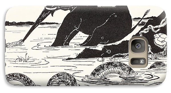 The Elephant's Child Having His Nose Pulled By The Crocodile Galaxy S7 Case by Joseph Rudyard Kipling