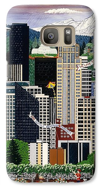 Galaxy Case featuring the painting The Emerald City Seattle by Jennifer Lake