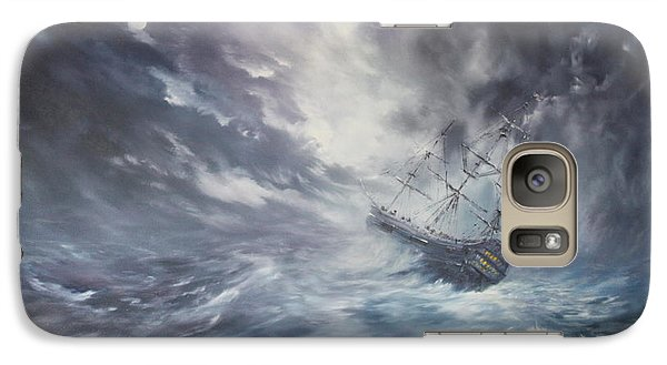 Galaxy Case featuring the painting The Endeavour On Stormy Seas by Jean Walker