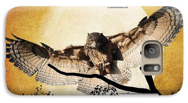 Galaxy Case featuring the photograph The Eurasian Eagle Owl And The Moon by Kathy Baccari