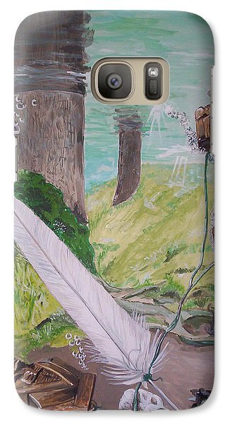 Galaxy Case featuring the painting The Feather And The Word La Pluma Y La Palabra by Lazaro Hurtado