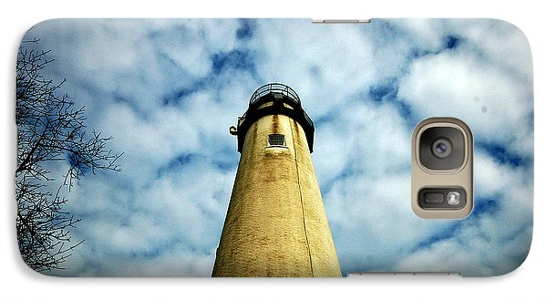 Galaxy Case featuring the photograph The Fenwick Light And A Mackerel Sky by Bill Swartwout