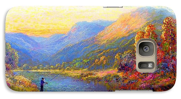 Galaxy Case featuring the painting Fishing And Dreaming by Jane Small
