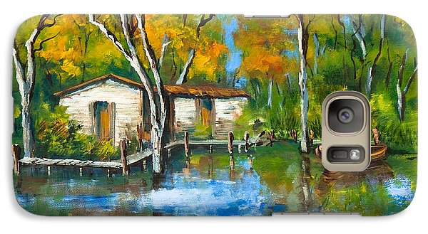 Galaxy Case featuring the painting The Fishing Camp by Dianne Parks