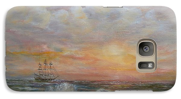 Galaxy Case featuring the painting Sunlit  Frigate by Luczay