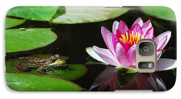 Galaxy Case featuring the photograph The Frog And The Lily by Janice Adomeit
