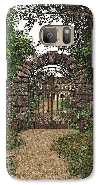 Galaxy Case featuring the digital art The Garden Gate by Jayne Wilson