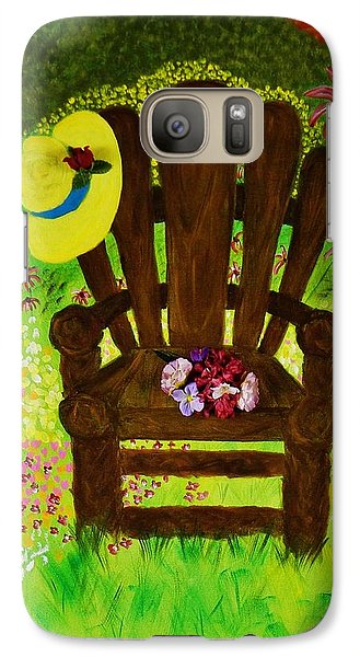 Galaxy Case featuring the painting The Gardener's Chair by Celeste Manning