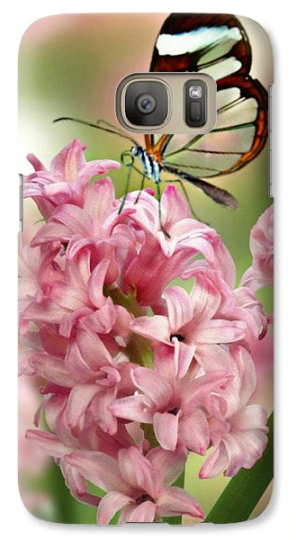 Galaxy Case featuring the mixed media The Glasswing by Morag Bates