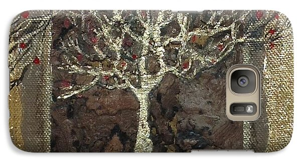Galaxy Case featuring the mixed media The Golden Tree  by Delona Seserman