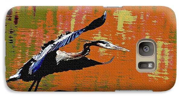 Galaxy Case featuring the photograph The Great Blue Heron Jumps To Flight by Tom Janca