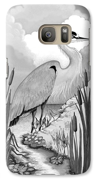 Galaxy Case featuring the digital art The Great Blue In Grey by Carol Jacobs