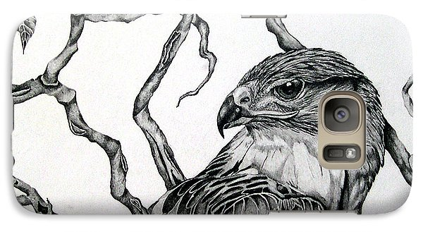 Galaxy Case featuring the drawing The Hawk by Alison Caltrider