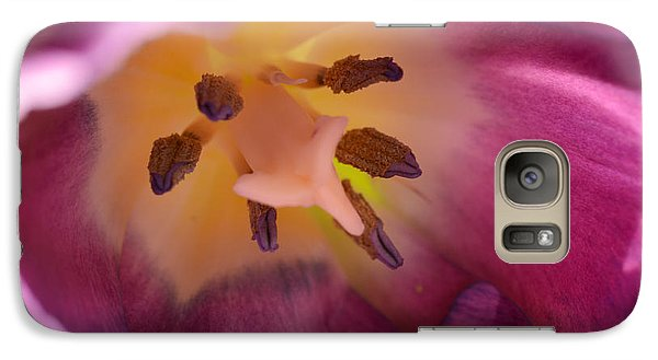 Galaxy Case featuring the photograph The Heart Of A Tulip by Wanda Brandon