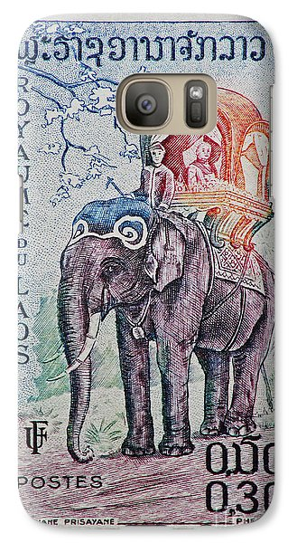 Galaxy Case featuring the photograph The King's Elephant Vintage Postage Stamp Print by Andy Prendy