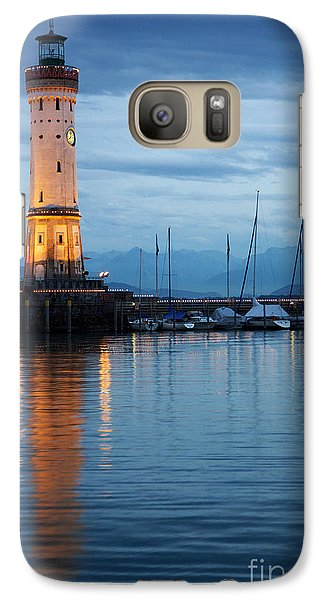 Galaxy Case featuring the photograph The Lighthouse Of Lindau By Night by Nick  Biemans