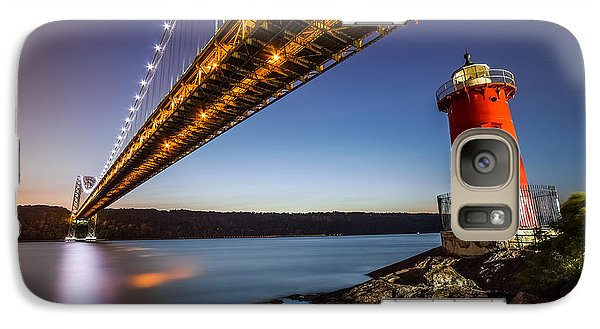 Galaxy Case featuring the photograph The Little Red Lighthouse by Mihai Andritoiu