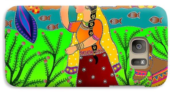 Galaxy Case featuring the digital art The Lonely Radha-madhubani Style-digital by Latha Gokuldas Panicker