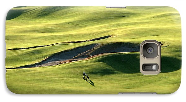 Galaxy Case featuring the photograph The Long Green Walk - Chambers Bay Golf Course by Chris Anderson