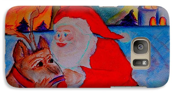 Galaxy Case featuring the painting The Man In The Red Suit And A Red Nosed Reindeer by Helena Bebirian