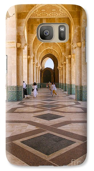 Galaxy Case featuring the photograph The Massive Colonnades At The Hassan II Mosque Sour Jdid Casablanca Morocco by Ralph A  Ledergerber-Photography