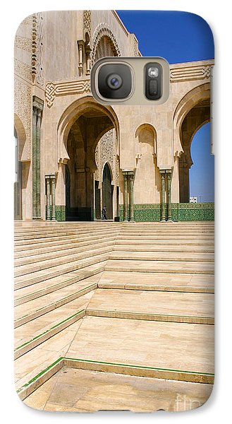 Galaxy Case featuring the photograph The Massive Colonnades Leading To The Hassan II Mosque Sour Jdid Casablanca Morocco by Ralph A  Ledergerber-Photography