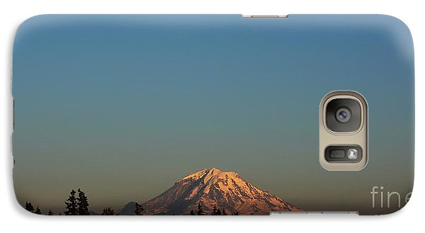 Galaxy Case featuring the photograph The Moon And Mt. Rainier by Gayle Swigart