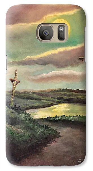 Galaxy Case featuring the painting The Moon With Three Crosses by Randol Burns