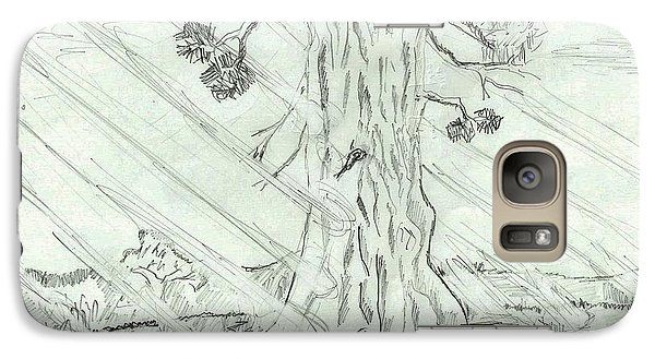 Galaxy Case featuring the drawing The Old Tree In Spring Light  - Sketch by Felicia Tica