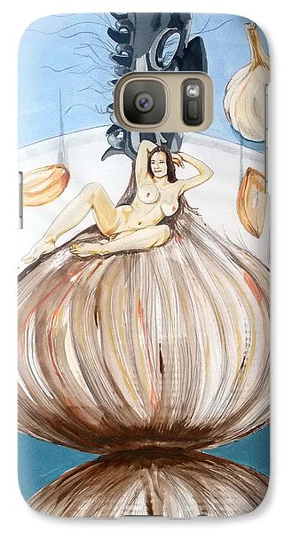 Galaxy Case featuring the painting The Onion Maiden And Her Hair La Doncella Cebolla Y Su Cabello by Lazaro Hurtado