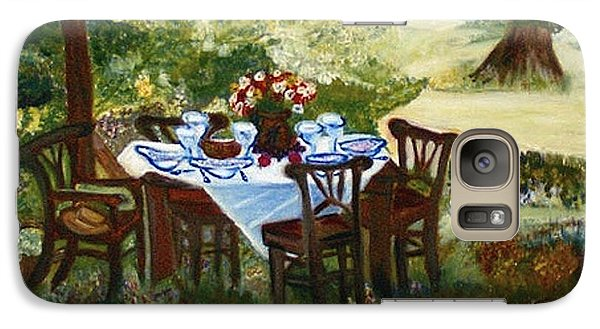 Galaxy Case featuring the painting The Outdoor Gathering by Helena Bebirian