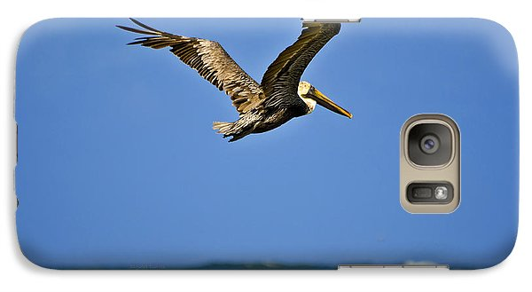 Galaxy Case featuring the photograph The Pelican And The Sea by DigiArt Diaries by Vicky B Fuller