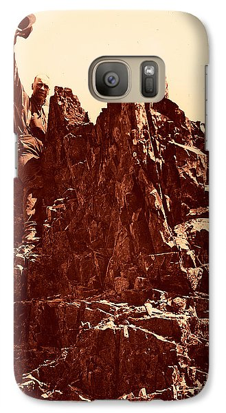 Galaxy Case featuring the photograph The Photographer On Pinnacle Peak Early 1900 Era by Eddie Eastwood