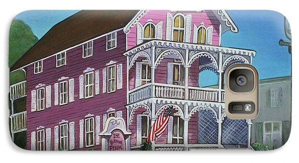 Galaxy Case featuring the painting The Pink House In Cape May by Melinda Saminski