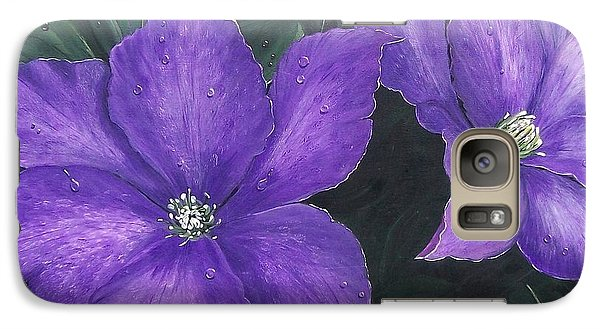 Galaxy Case featuring the painting The President Clematis by Sharon Duguay