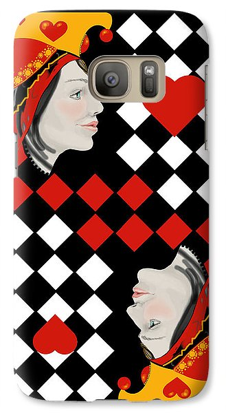 Galaxy Case featuring the painting The Queen On Her Card by Carol Jacobs