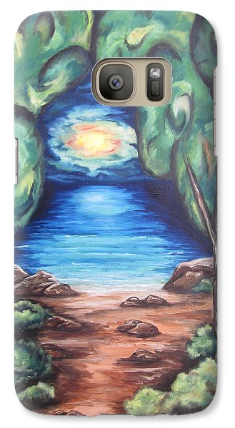 Galaxy Case featuring the painting The Quiet Ocean by Cheryl Pettigrew