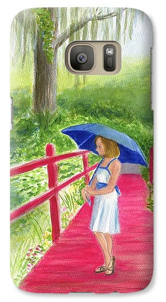 Galaxy Case featuring the painting The Red Bridge by Jeanne Kay Juhos