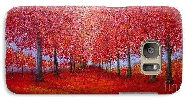 Galaxy Case featuring the painting The Red Maples Alley by Marie-Line Vasseur