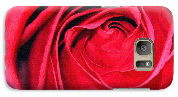 Galaxy Case featuring the painting The Red Rose Blooming by Karon Melillo DeVega