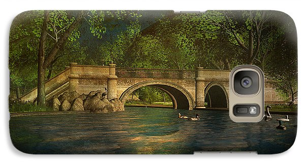 Galaxy Case featuring the digital art The Rose Pond Bridge 06301302 - By Kylie Sabra by Kylie Sabra