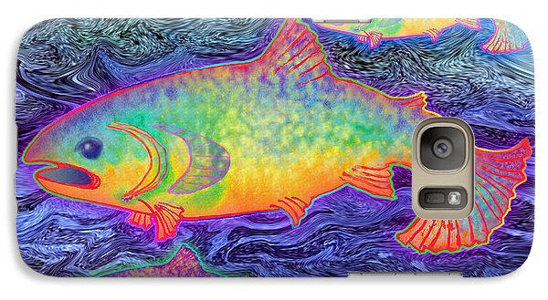 Galaxy Case featuring the mixed media The Salmon King by Teresa Ascone