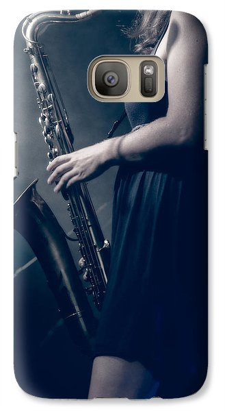 The Saxophonist Sounds In The Night Galaxy S7 Case by Bob Orsillo