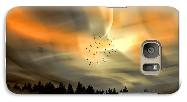 Galaxy Case featuring the mixed media The Setting Sun Over The Rising Mist by Tyler Robbins