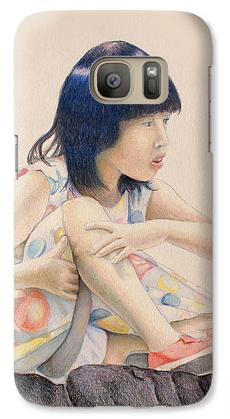 Galaxy Case featuring the drawing The Steady Gaze by Tim Ernst