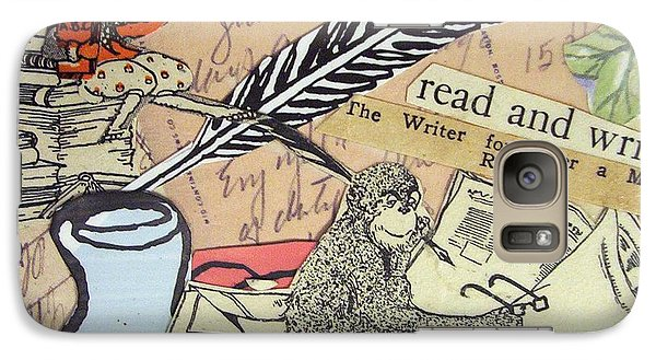 Galaxy Case featuring the drawing The Studious Rabbit And The Monkey by Eloise Schneider